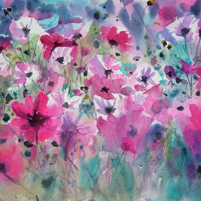 2017 art painting watercolor floral cosmos by Kate Kos - Pink Candy Wrappers