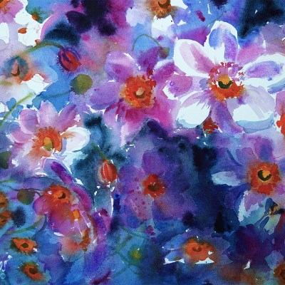2017 art painting watercolor floral anemones by Kate Kos - Watercolor Dreams - High Chroma