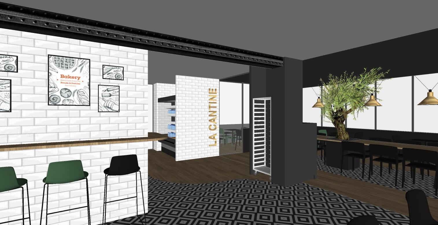 appel d'offre - vue 3d espace restaurant la boulangerie La Manufacture