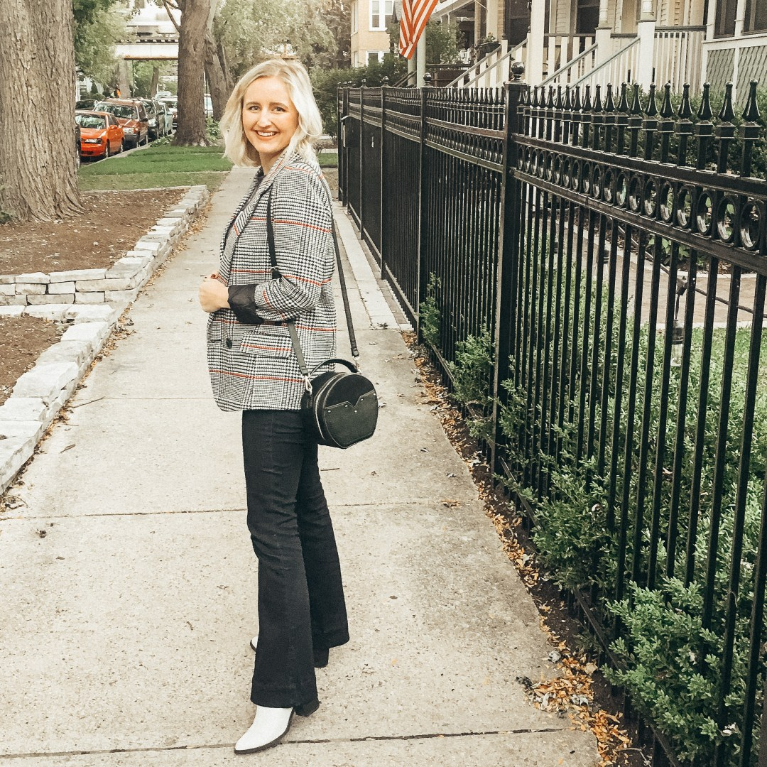 Styling a plaid blazer and jeans