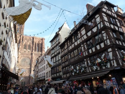 The beautiful half-timbered houses in front of the Strasbourg Cathedral