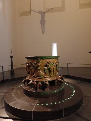 Baptismal font, Collégiale Saint-Barthélemy