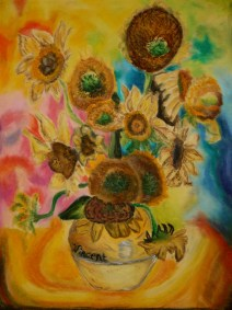 A psychadelic re-creation of Van Gogh's Sunflowers painting. Created February of 2012.