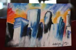 "Melting City: Minneapolis, created July 2012. 9""x12"" on pastel paper. CURRENTLY FOR SALE."