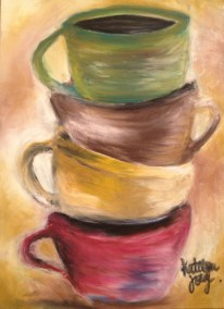 """-On 5""""x7"""" Pastelbord -Used Sennelier Oil Pastels as well as Caran D'ache. --Used a high quality fixative, Sennelier Oil Pastel fixative, to protect the piece - Where in the world is this painting?: In my Mother's kitchen."""