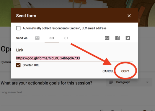 Copy Button Google Form