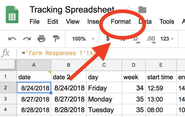 Format Google Sheets