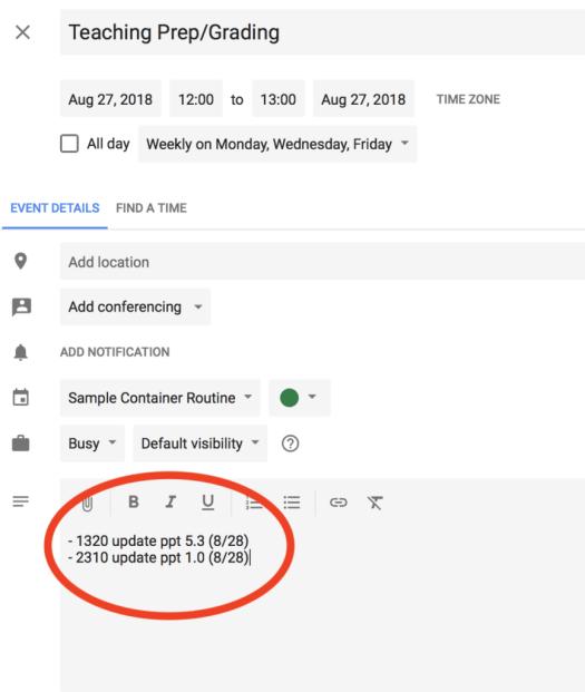 Google Calendar Container Routine With Description