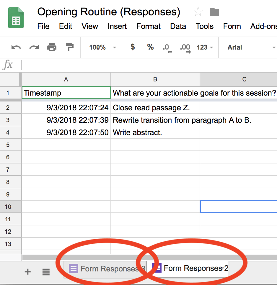 Spreadsheet showing two linked forms