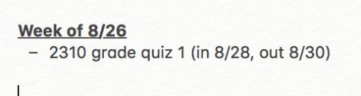 To grade week of 8.26