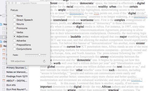 Scrivener 3 in depth Review Linguistic focus adjectives