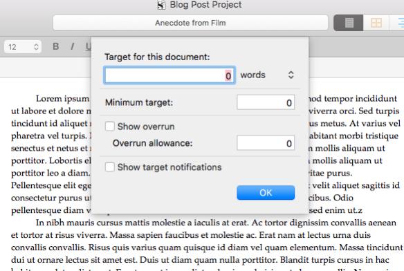 Scrivener 3 in depth review word target feature