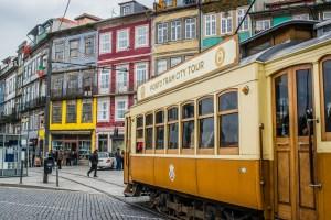 Historic tram in Porto, Portugal.
