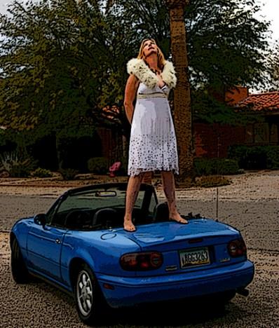 Kate on her car postcard