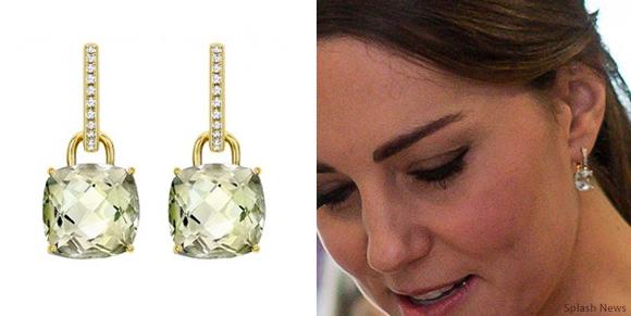 "Kate Middleton wearing Kiki McDonough's green amethyst ""Classic"" cushion cut earrings"