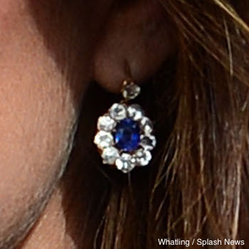 Kate Middleton's Diamond and Sapphire earrings, thought to be adapted from a pair worn by Princess Diana