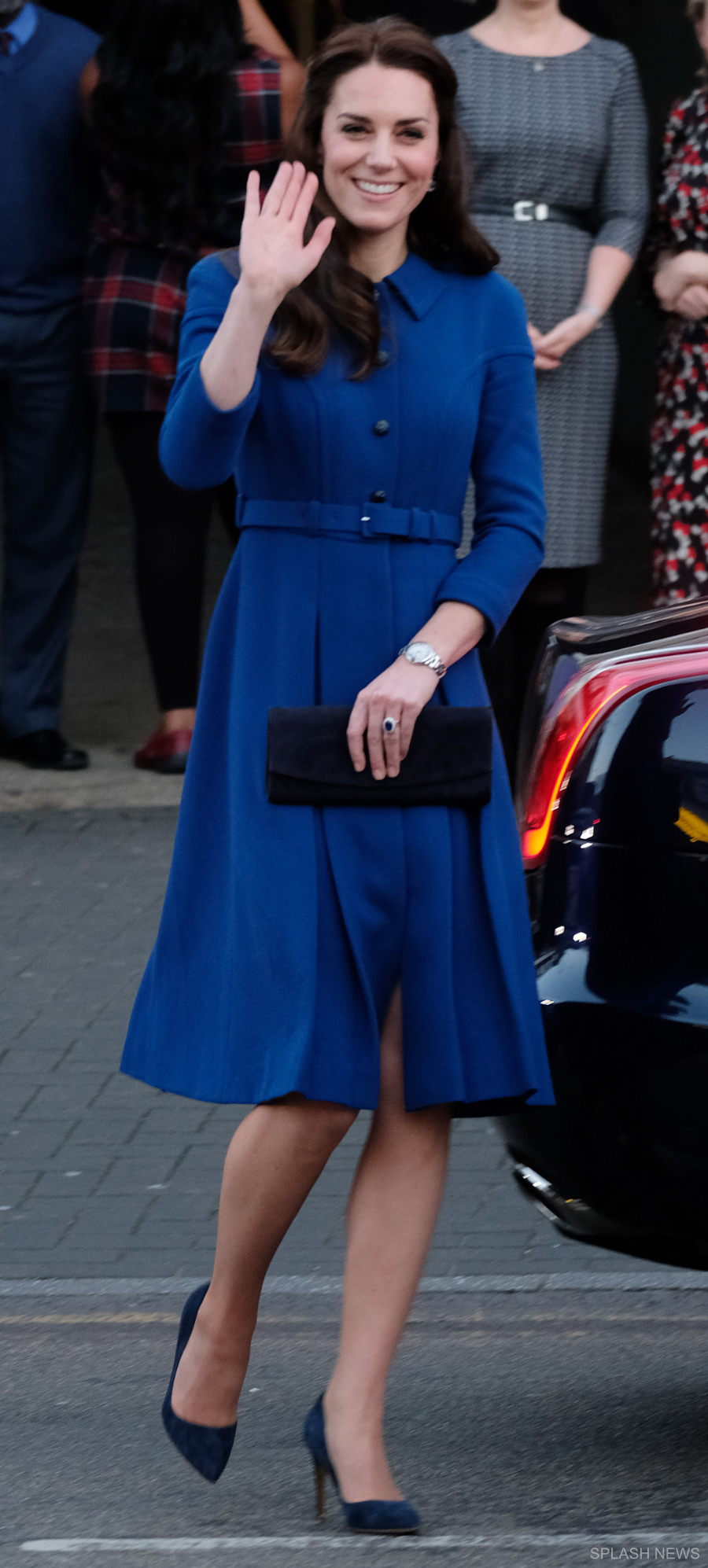 Kate Middleton wears Eponie London during a visit to the Anna Freud Centre in London