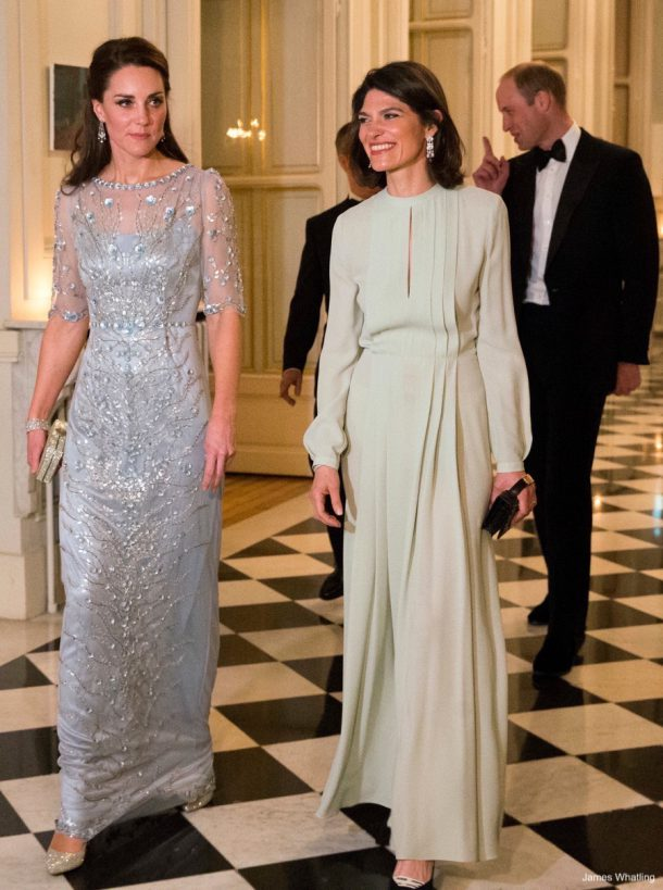 The Duke and Duchess of Cambridge attend a black tie dinner hosted by the British Ambassador at the British Embassy, Paris, France, on the 17th March 2017.