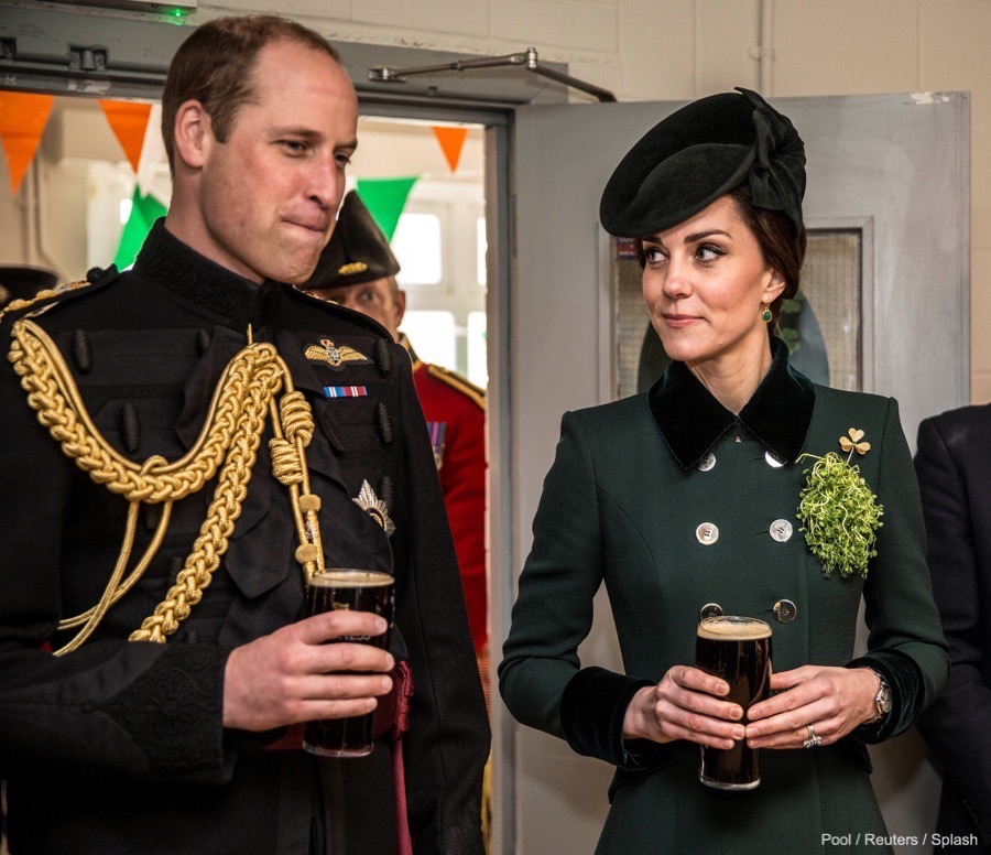 Britain's Prince William and Catherine, the Duchess of Cambridge, sit for an official photograph with warrant officers of the 1st Battalion Irish Guards following their St Patrick's Day parade at Cavalry Barracks, Hounslow on Friday, 17th March 2017.