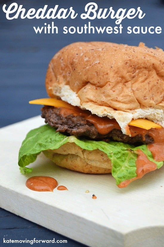 Cheddar Burger with southwest sauce