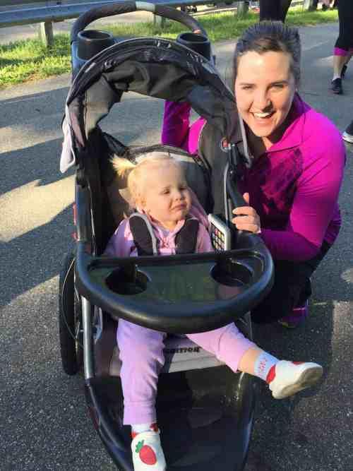 mother daughter running