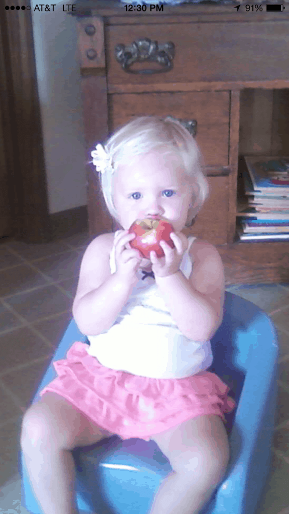 layla with her apple