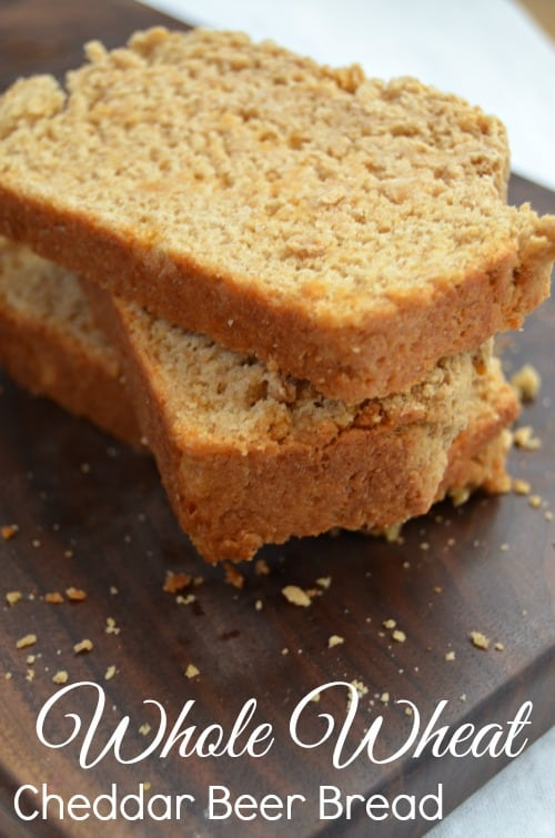 Whole Wheat Cheddar Beer Bread is absolutely delicious and so easy to make! Perfect to pair with a cup of warm soup!