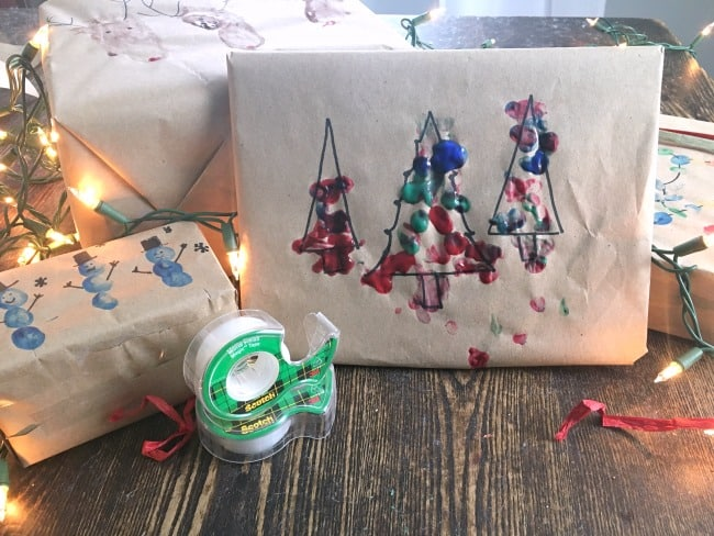 Finger Paint Gift Wrapping