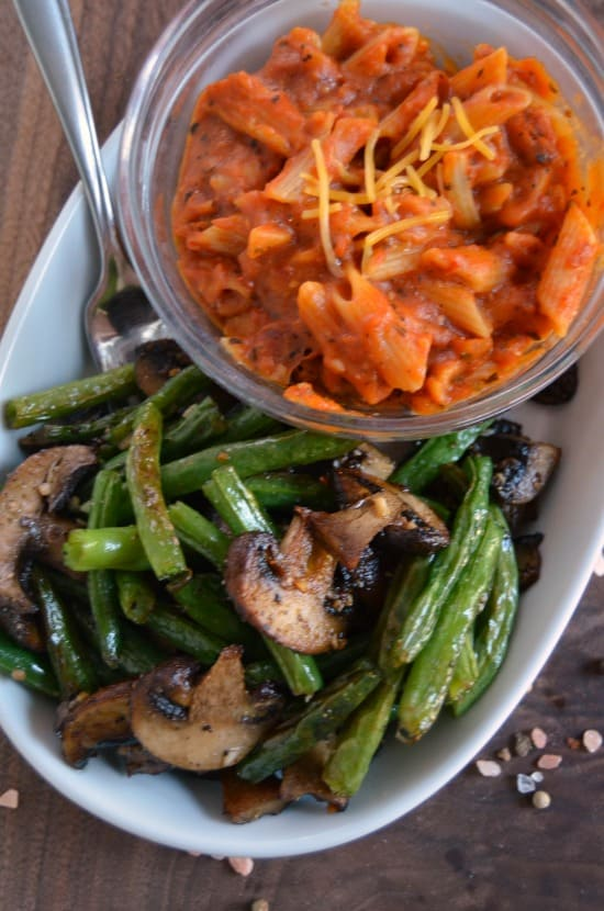 lean cuisine and roasted vegetables