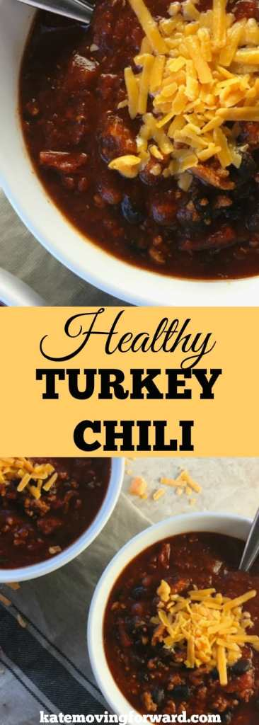 Healthy Turkey Chili - A delicious, spicy, and thick chili made with ground turkey, black beans, and vegetables. Chili recipe for the stovetop and slow cooker! #turkeychili #chilirecipe #slowcooker