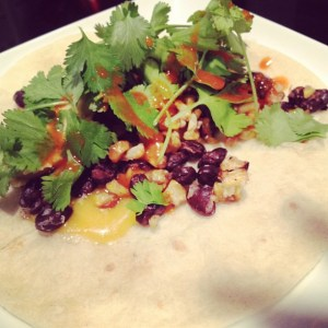 black bean and lime tacos