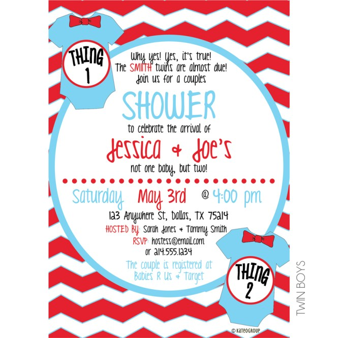 Thing One Two Baby Shower Invitation