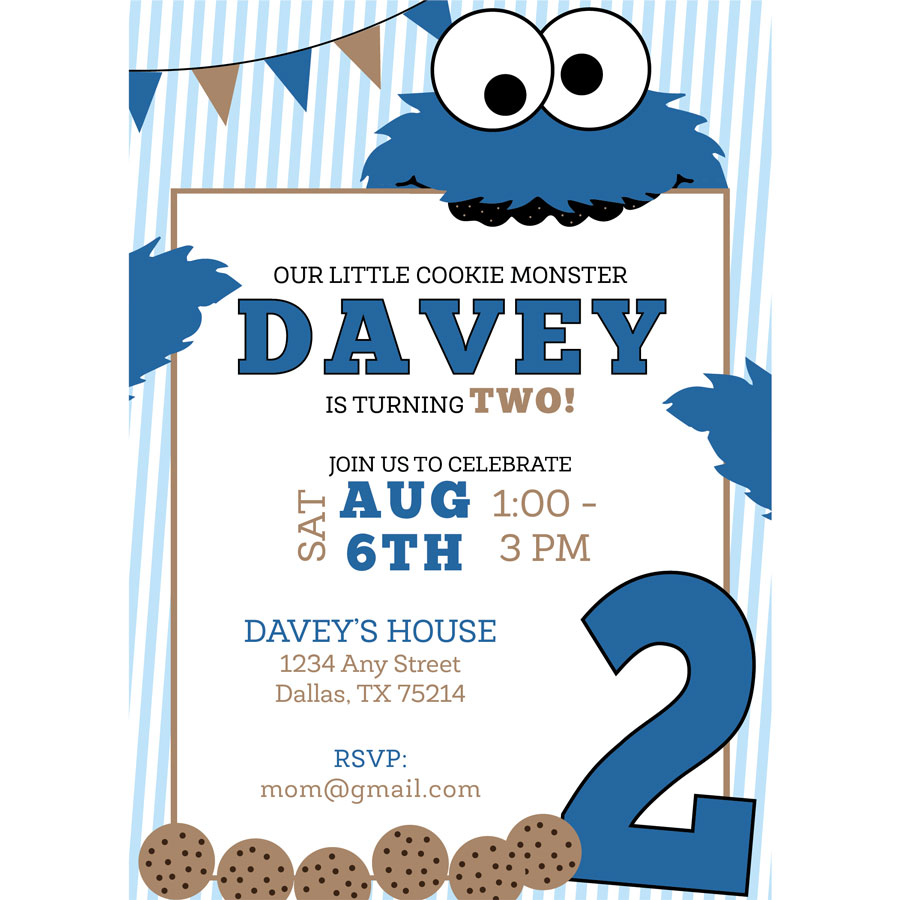 Cookie Monster Birthday Invitation – Cookie Party Invitation Wording
