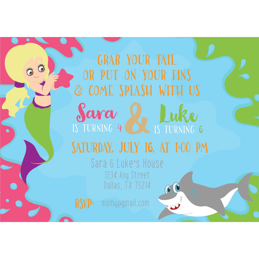 mermaid and shark birthday invitation