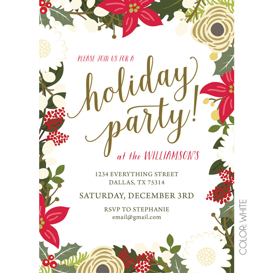 Work Christmas Party Invites: Floral Holiday Party Invitation