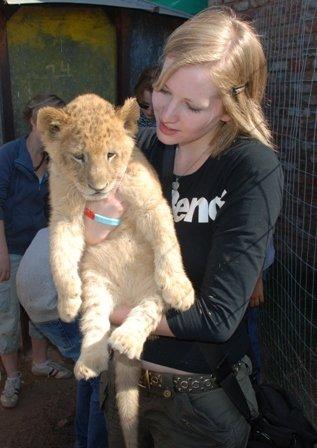 Kate with Lion cub, Shamwari
