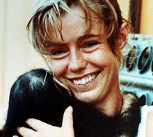 Julie Ward with chimpanzee