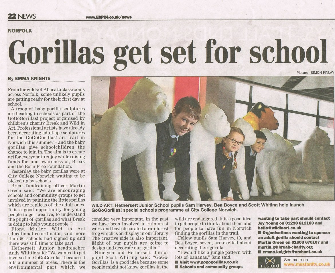 Go Go Gorillas visiting schools – Eastern Daily Press cutting