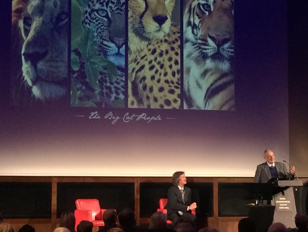 Jonathan Scott getting ready to take the stand at the Royal Geographical Society, London.