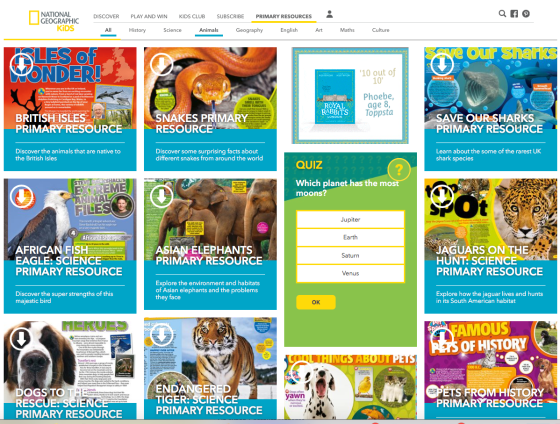 Nat geo kids website animals resource