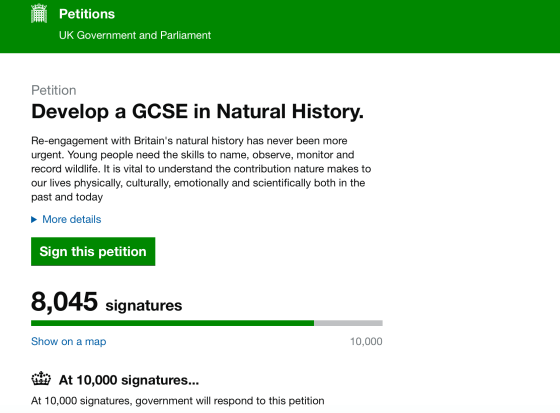natural history GCSE petition