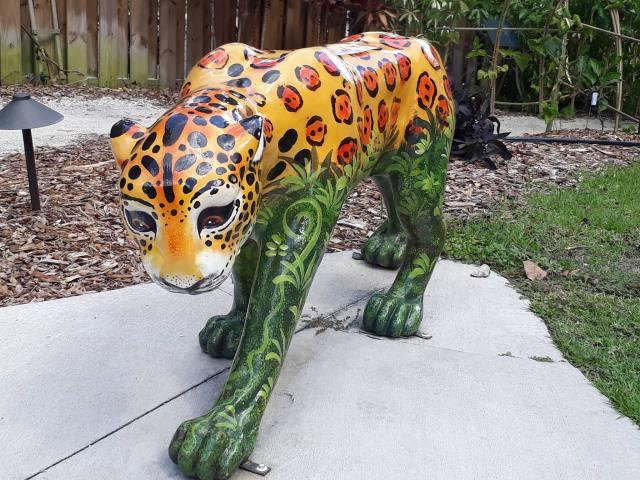 jaguar statue handpainted rainforest design