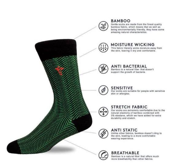gorilla socks annotated with information on their unique selling points