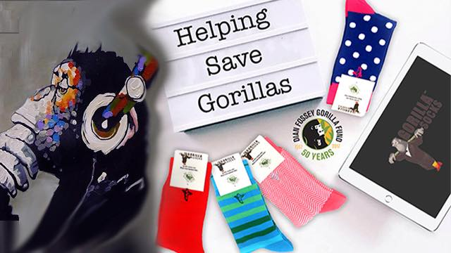 gorilla socks art - helping to save gorillas