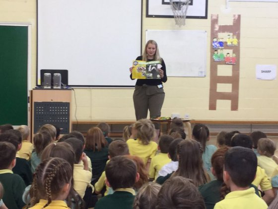 Kate-on-conservation-giving-a-Brtish-wildlife-assembly-at-East-Harling-Primary-School