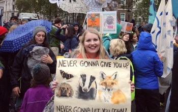 kate on conservation People's walk for wildlife banner