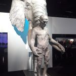elephant and man sculpture at Illegal Wildlife Trade conference