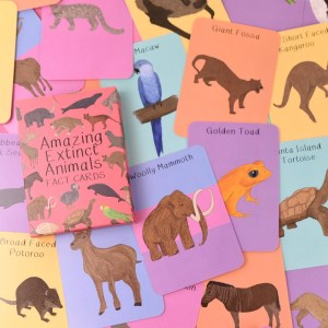 button and squirt extinct animal card