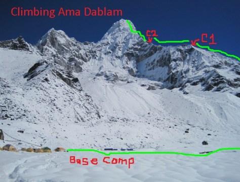 Ama Dablam 2013 route1