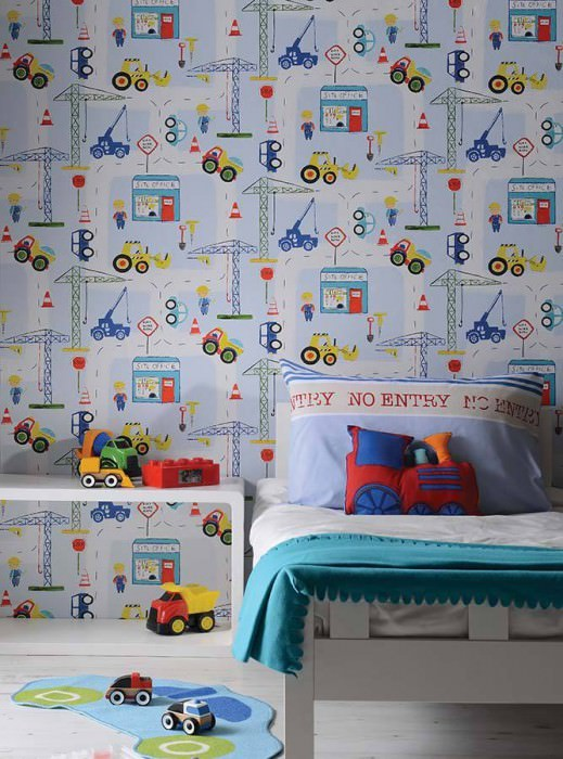 Construction Blue Wallpaper